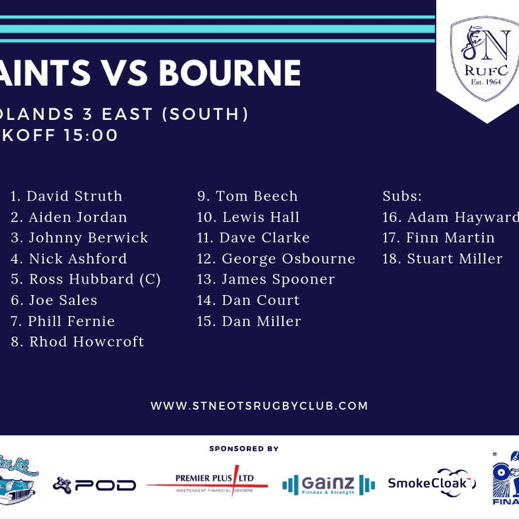 Squad Announced - Saints vs Bourne