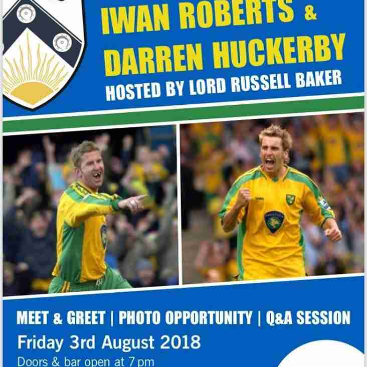 Tickets still available for Roberts & Huckerby evening