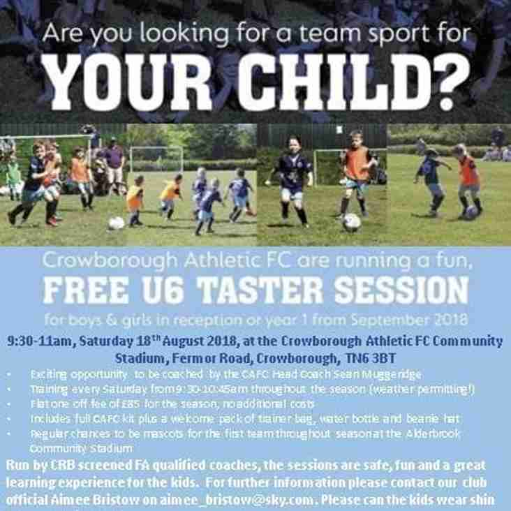 Free Taster Sessions for Under Sixes.