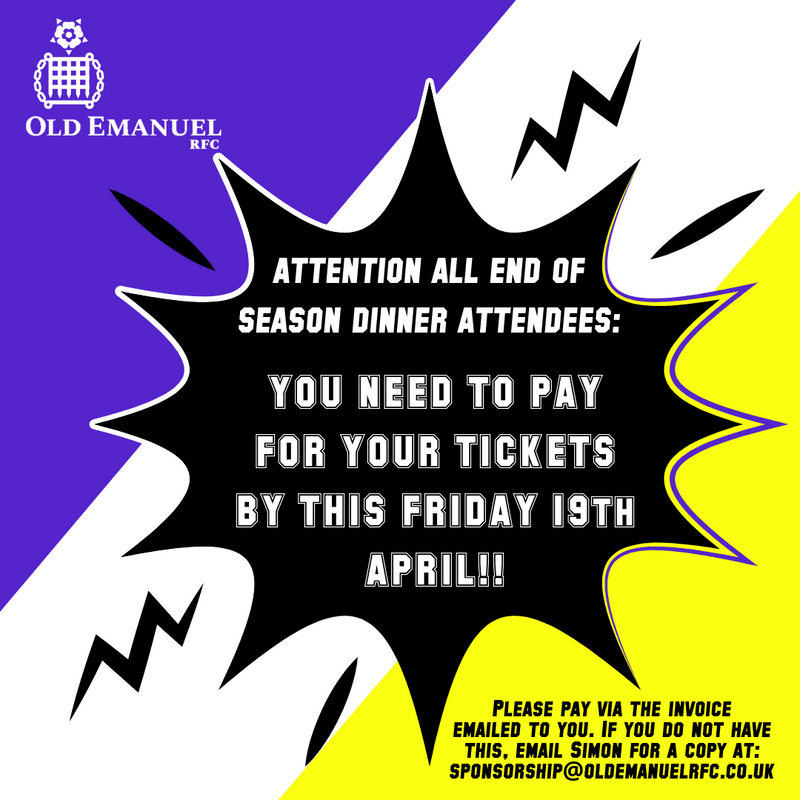 EoS DINNER TICKET PAYMENTS NEED TO BE MADE BY THIS FRIDAY 19TH APRIL!!!