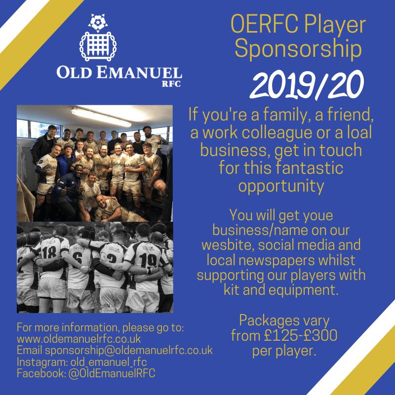 OERFC Player Sponsorship 2019-20 looking for sponsors!
