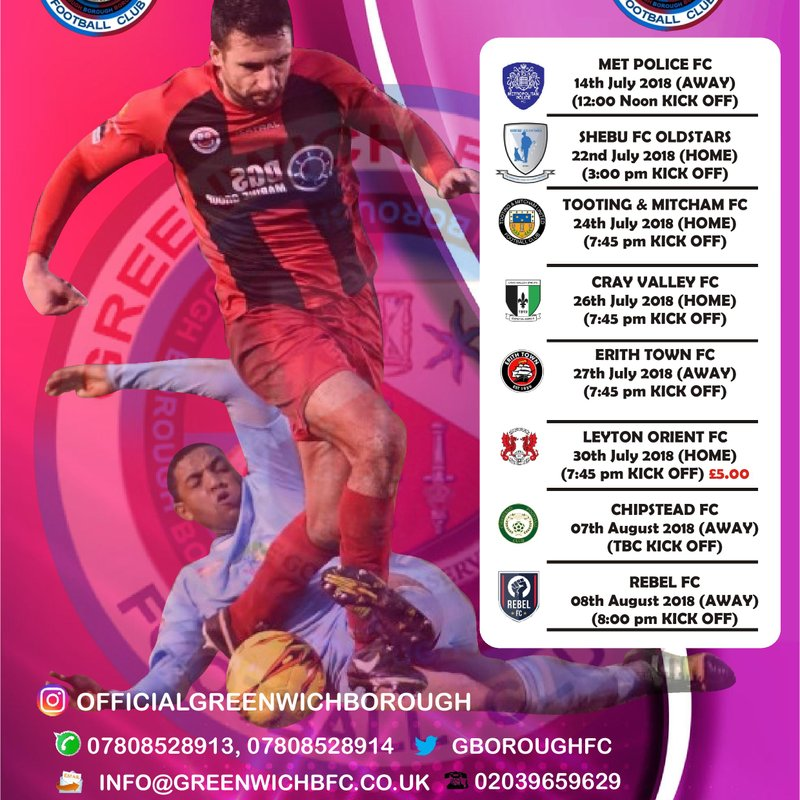 2018/19 PRE-SEASON FRIENDLY FIXTURES FOR GB FC