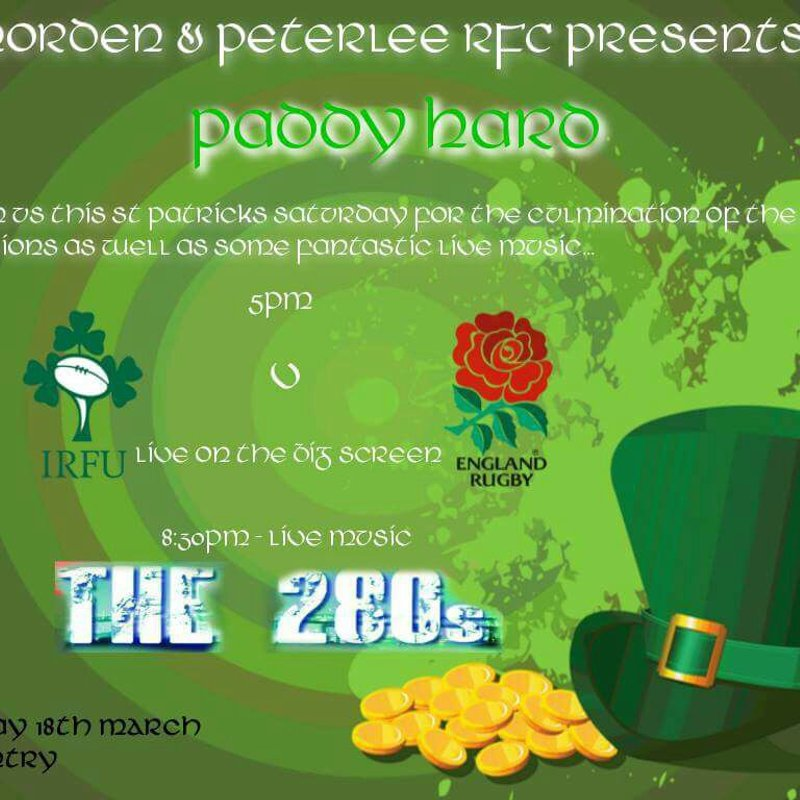 18th March - Ireland v England 5pm - Live band 8:30pm