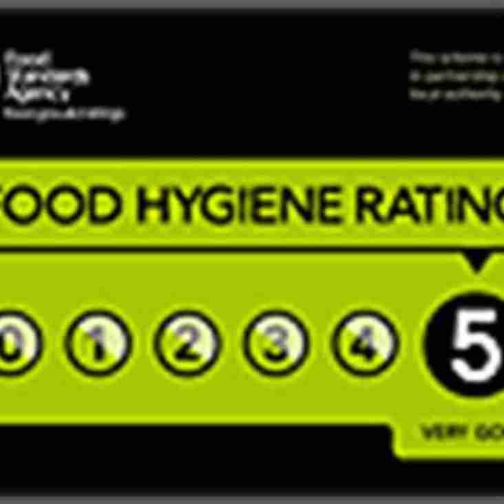 Club gets '5 Star' Food Hygiene Rating!!