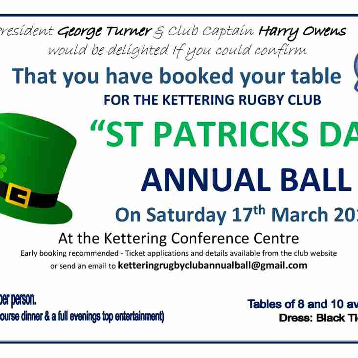 Confirm your table bookings for the Annual Ball!
