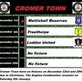 Cromer Town fixtures for December