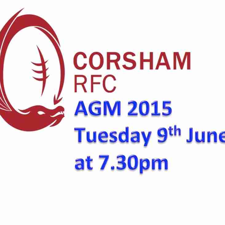 AGM 2015 Tuesday 9th June at 7.30pm