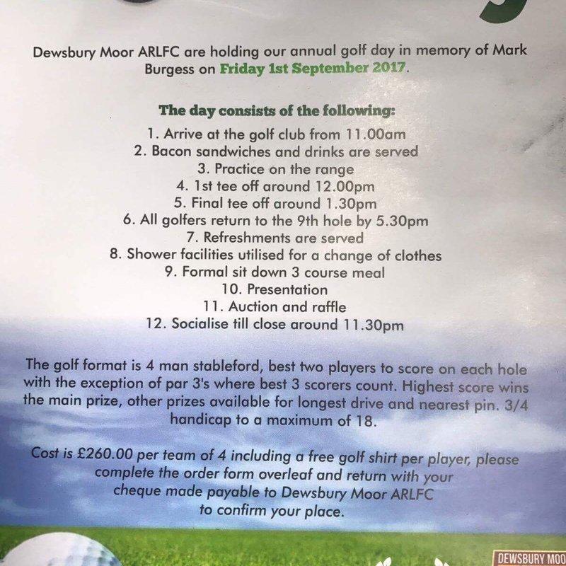 Annual Golf Day - Friday 1st September