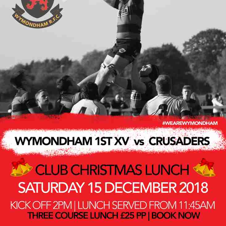 Pre-match Club Christmas Lunch - Saturday 15 December