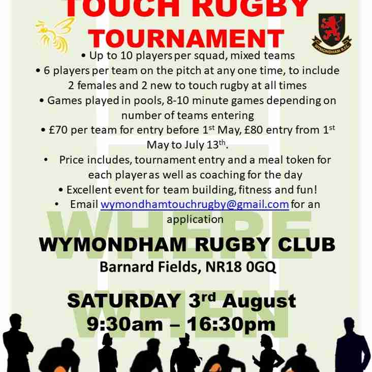 Wymondham WASPS are hosting a Touch Rugby Tournament