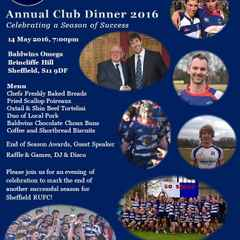 SRUFC END OF SEASON CLUB DINNER - Saturday 14th May - 7pm