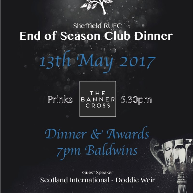 Sheffield RUFC - End of Season Dinner - 13th May 2017 - Date announced -