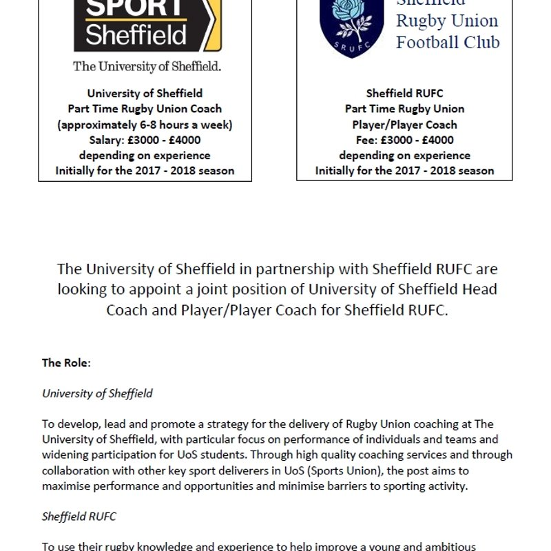 Sheffield RUFC & University of Sheffield - Job Advert -