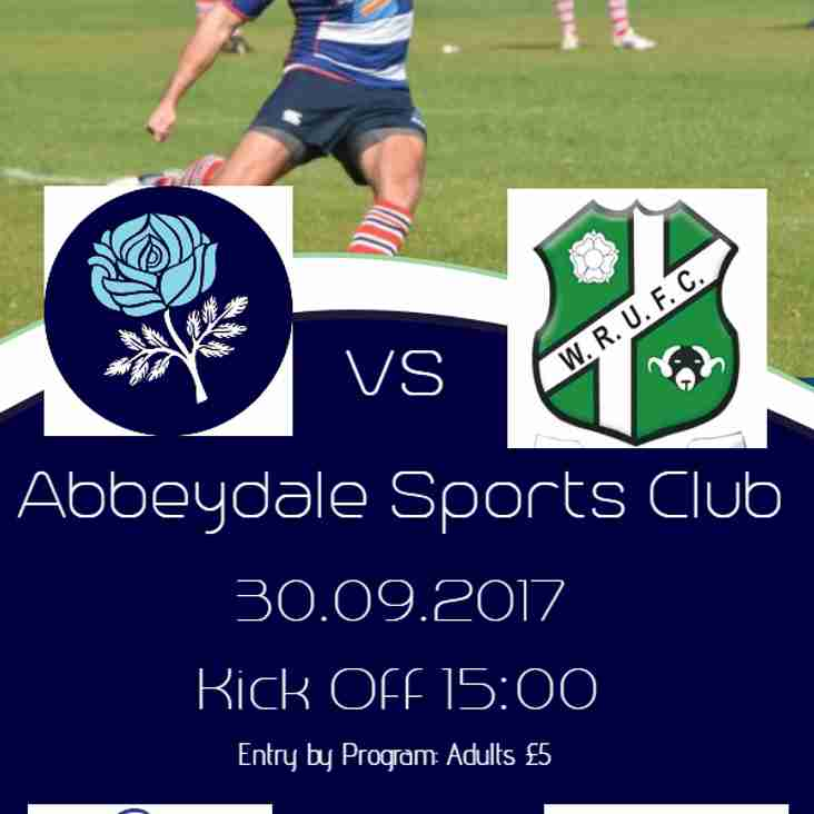 Sheffield v Wharefedale - Yorkshire Derby Day - THIS SATURDAY (30th Sep)