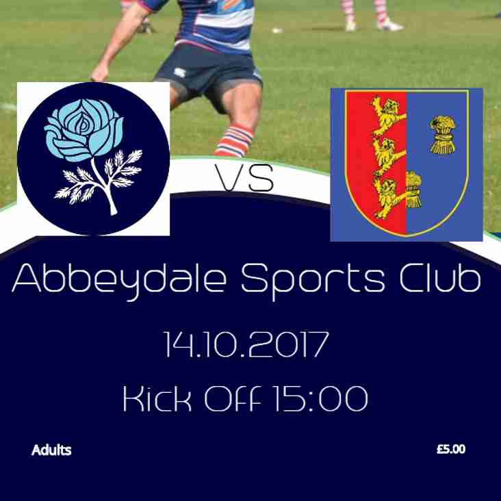 Sheffield 1st XV v Chester XV - This Saturday - 14th October 2017