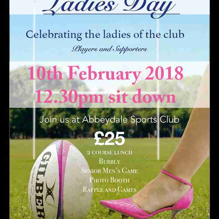 Announcing Sheffield RUFC Ladies day - 10th February 2018 -