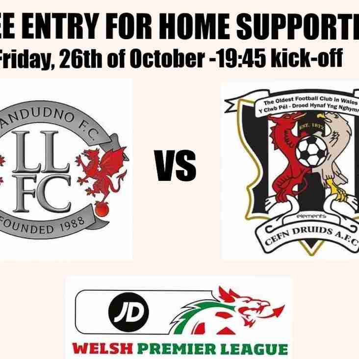 Free entry for home supporters on Friday night against Cefn Druids