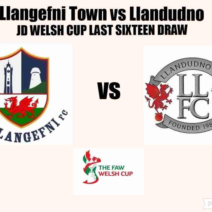 Llandudno drawn against Llangefni Town for the JD Welsh Cup last sixteen