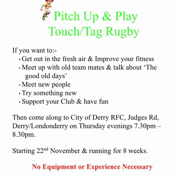 Over 40's Pitch Up & Play Touch/Tag Rugby