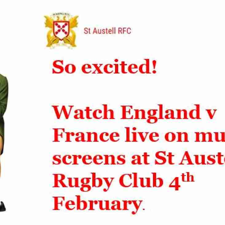 Watch England v France up at Tregorrick - 4th February