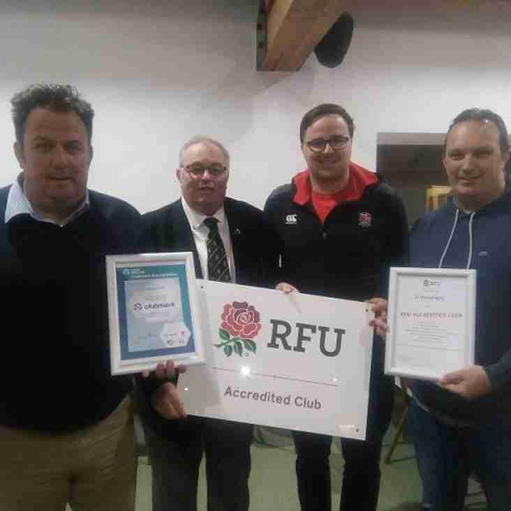 St Austell RFC Achieve RFU and Sport England Clubmark Accreditation