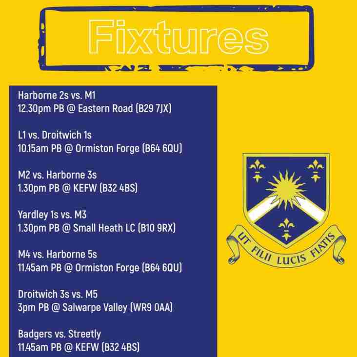 Fixtures (02/02): Games vs. Harborne Hockey Club, Droitwich Hockey, Yardley Hockey Club, Streetly Hockey Club