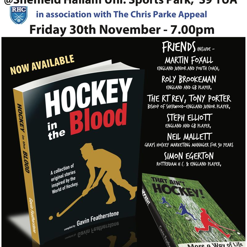 Reminder for this Friday - Rotherham Hockey Club to host an evening with Gav and friends