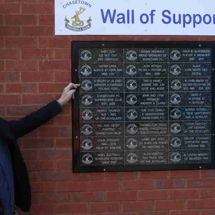 Chasetown launch wall of support