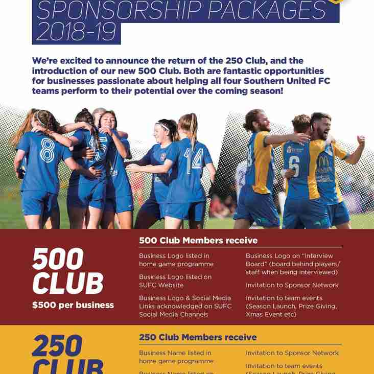 Join the Club - Sponsorship Packages