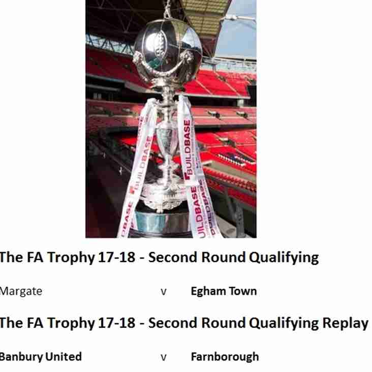 FA Trophy Second Round Qualifying & Replay - Saturday's Fixtures