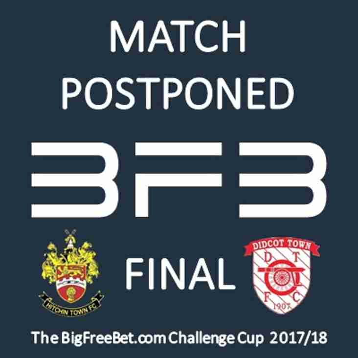 BFB Cup Final POSTPONED