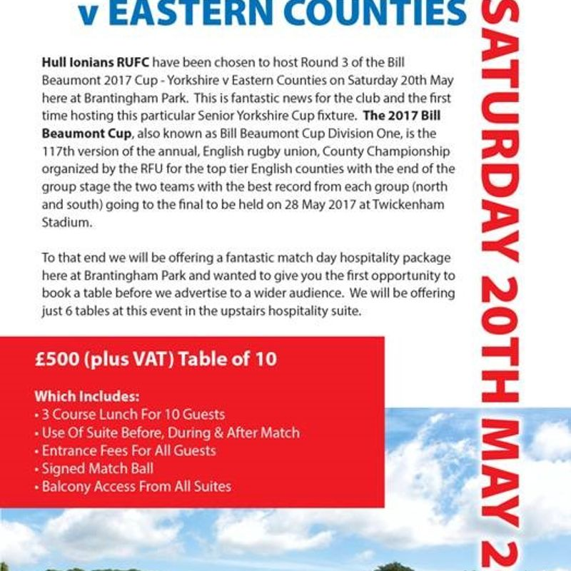 Yorkshire v Eastern Counties @ Brantingham Park