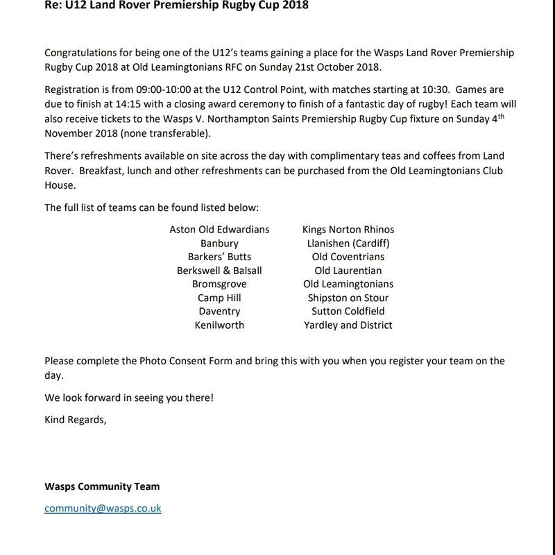 Under 12 premiership rugby cup 2018