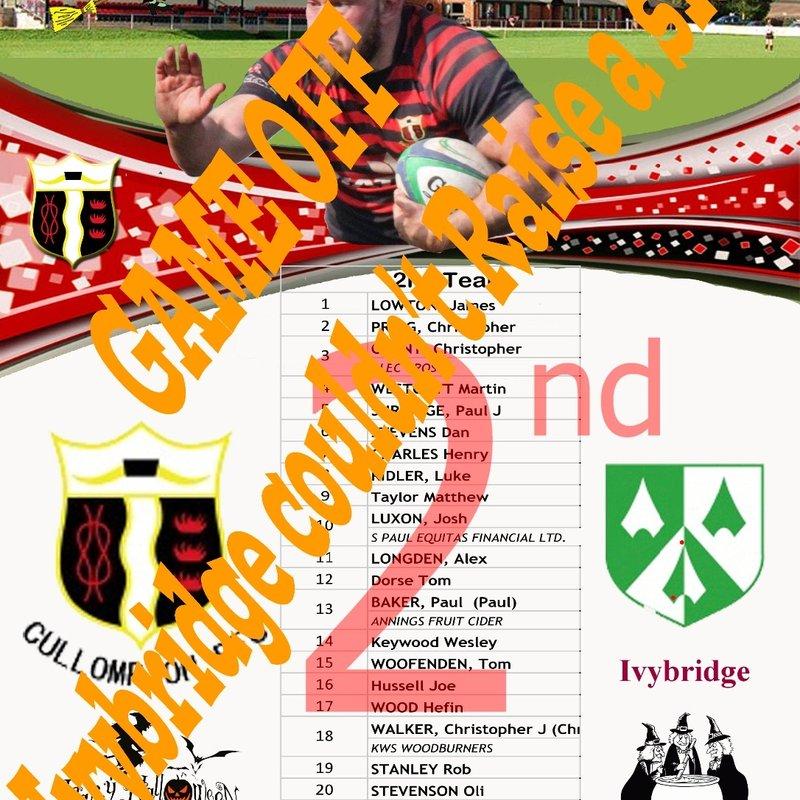 SATURDAY 29th OCTOBER 2016 Cullompton 2nd XV v Ivybridge 2nd XV