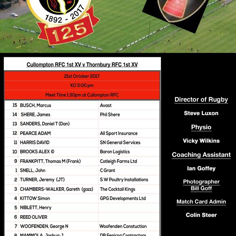 CULLOMPTON RFC v Thornbury RFC