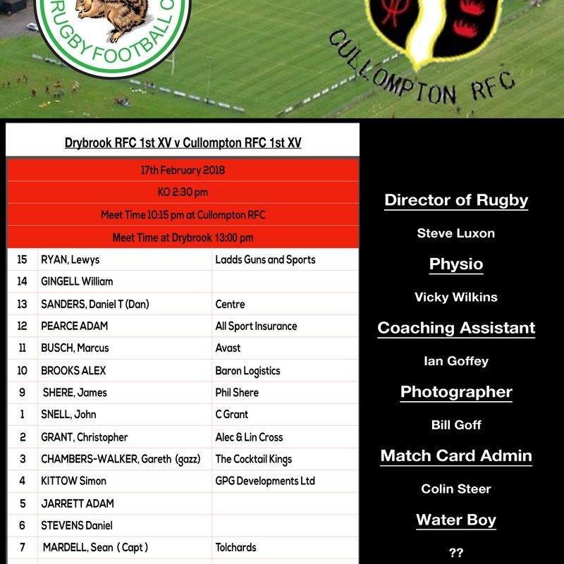Drybrook RFC v CULLOMPTON RFC