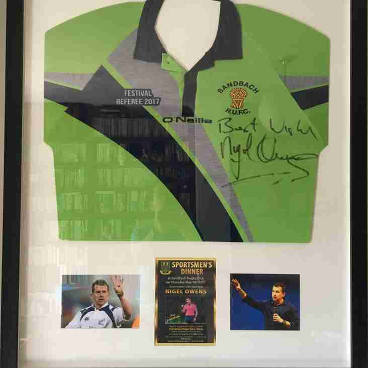 Nigel Owens  signed shirt auction ~ Ends at noon on Friday ~ £400 to beat