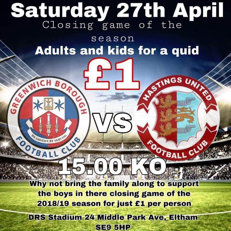 Closing game of the 18/19 season £1 admission