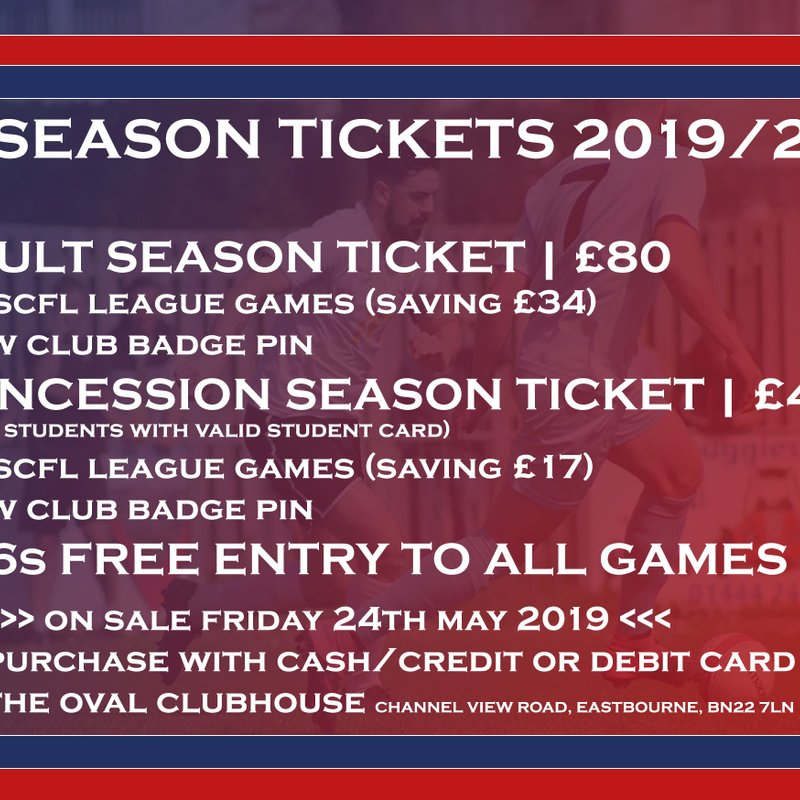 2019/20 Season Tickets on sale Friday!