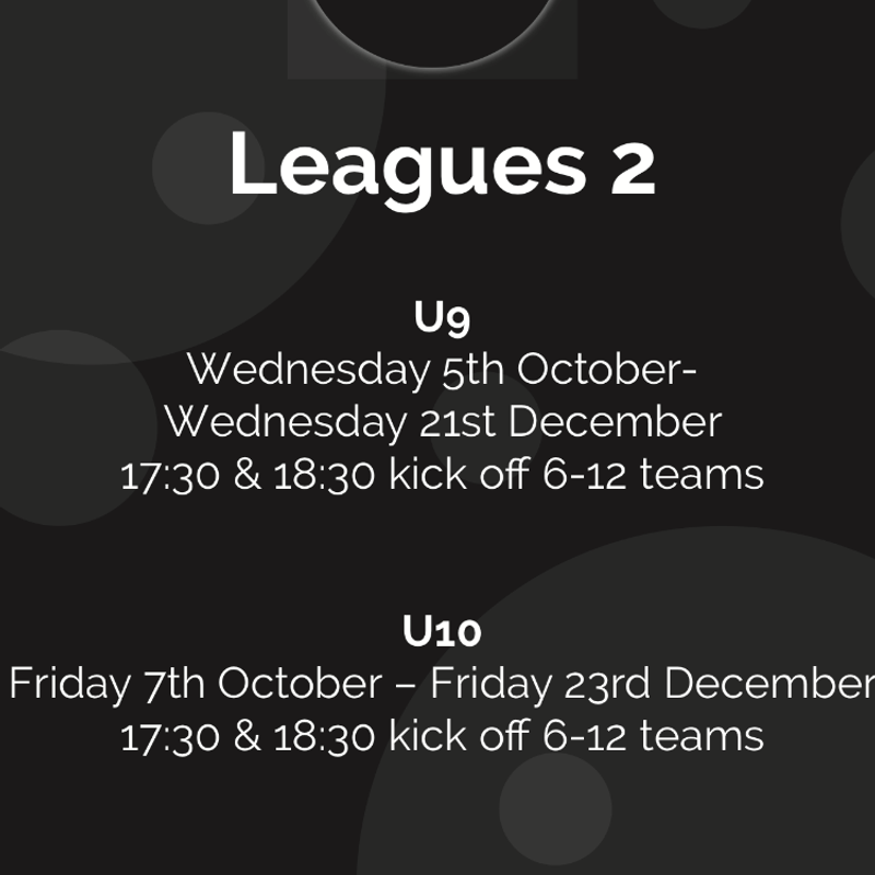 U9 and U10 Futsal League Details Starting in October 2016
