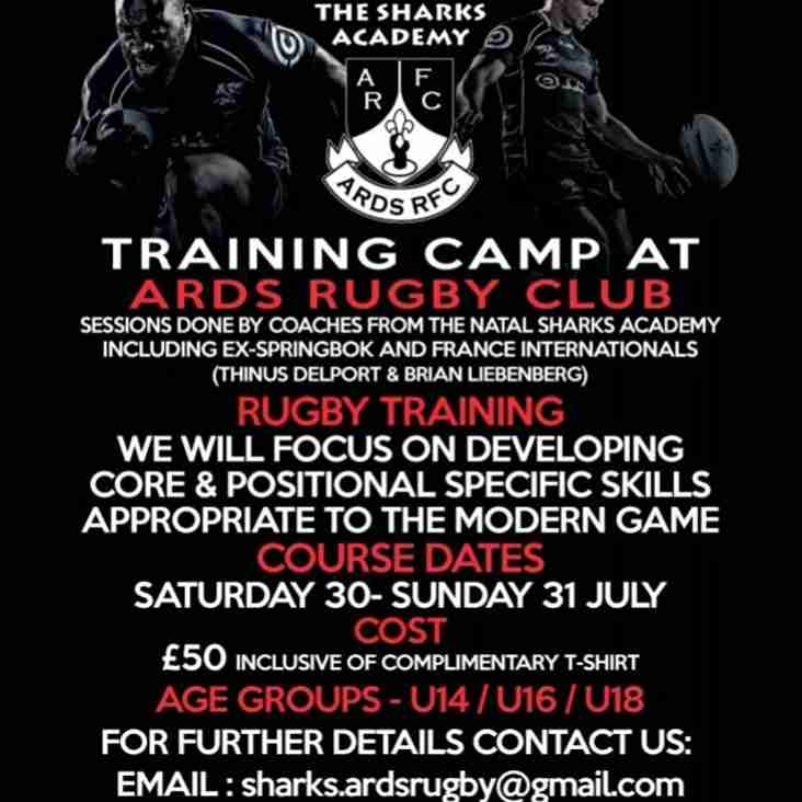 Ards Rugby to host NATAL SHARKS SUMMER CAMP