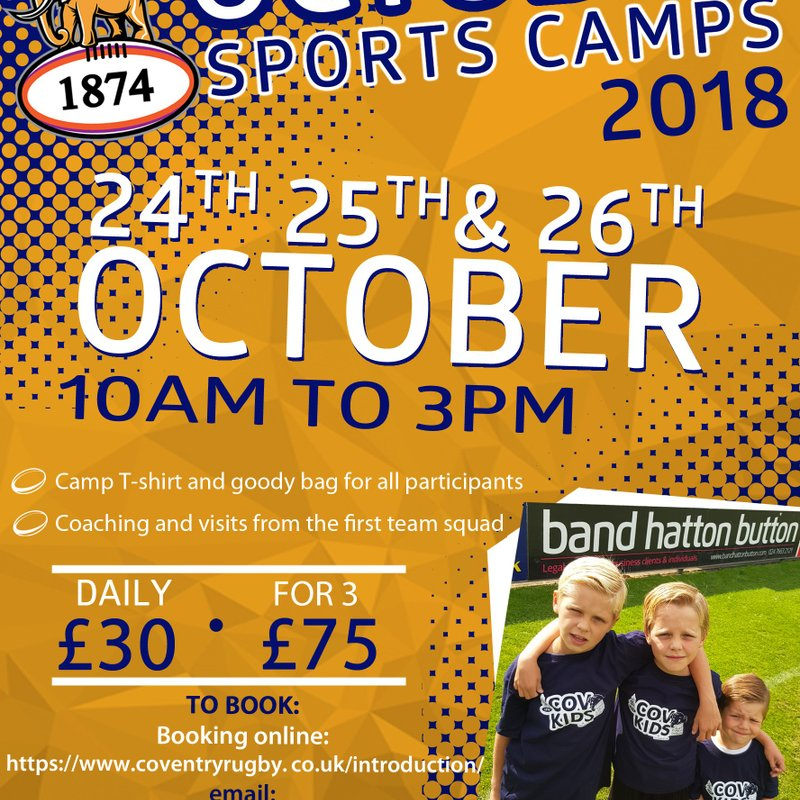 Earlsdon Discount for Coventry RFC half term rugby camp.