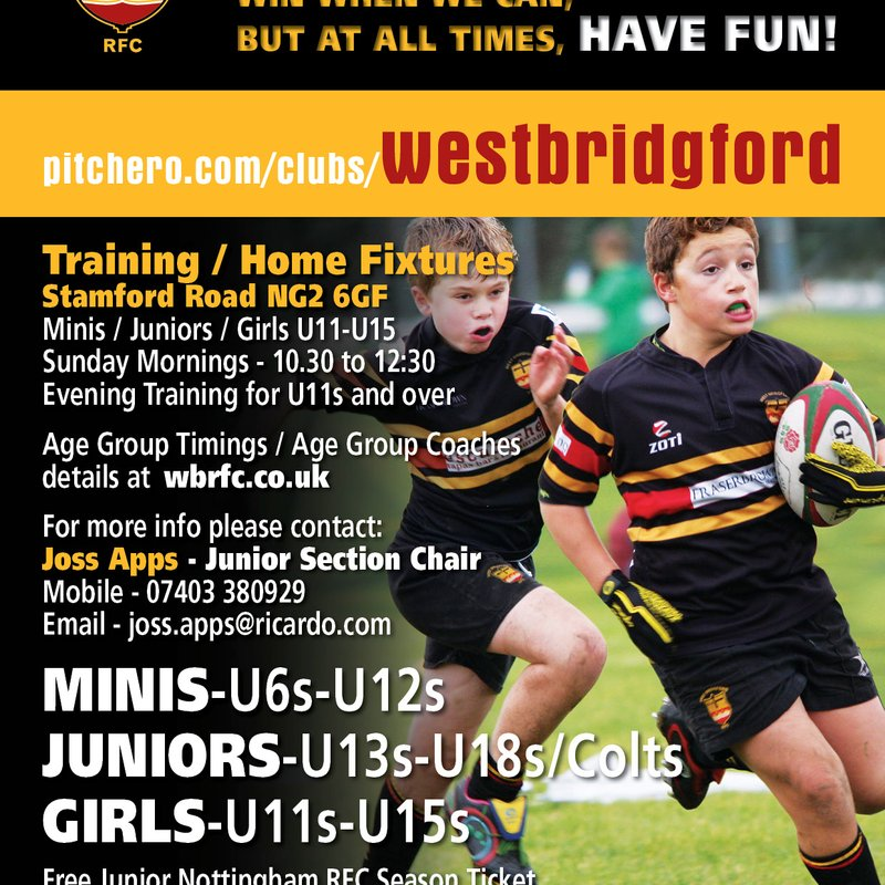 West Bridgford Rugby Club Junior Section Welcomes New and Returning Players