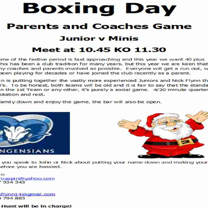 Boxing Day   Parents and Coaches Game