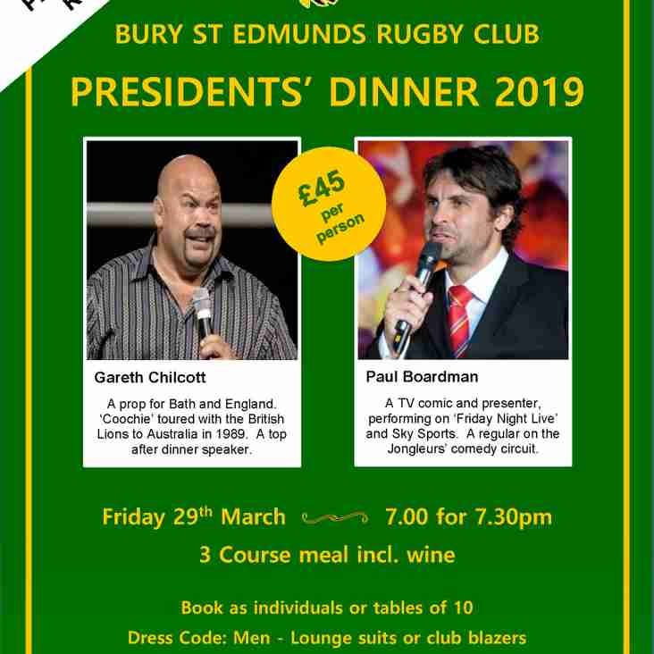 Presidents Dinner 29th March 2019