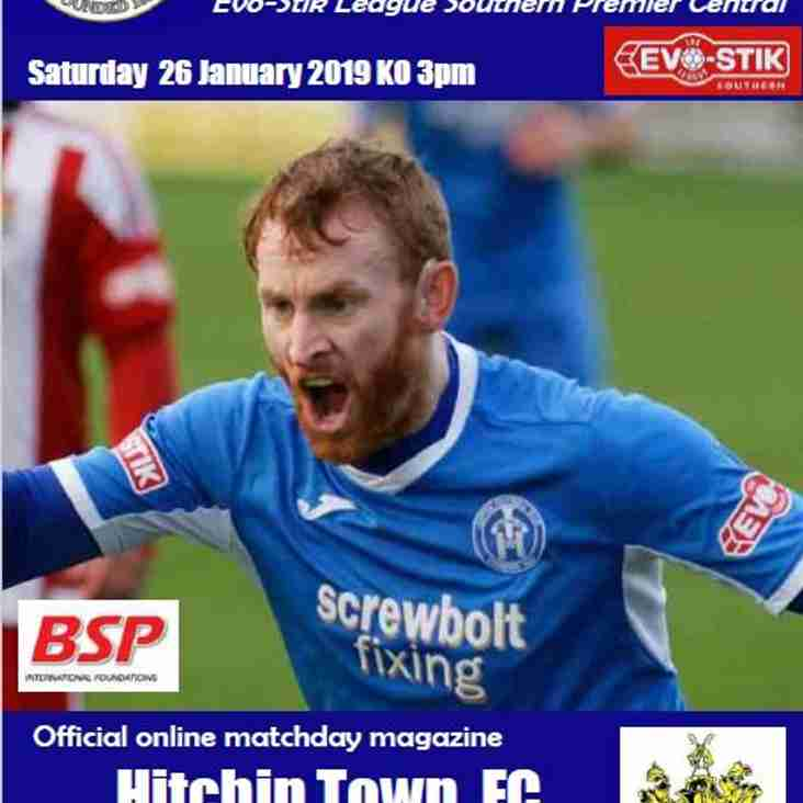Blues v Hitchin Town Programme now Online