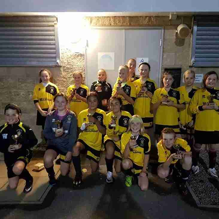 Melksham Town U12 Girls winners and runners up at FC Chippenham Tournament