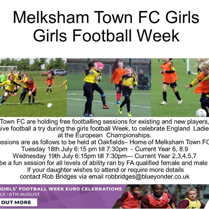 Girls Football Tues 18 Weds 19 July