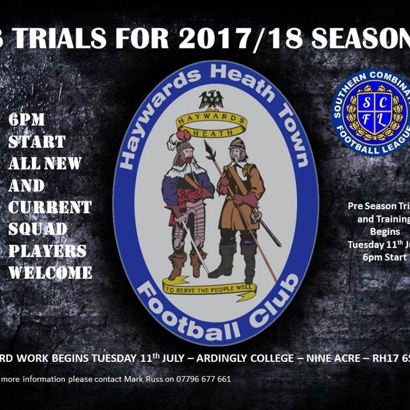 U18 Trials and Pre-Season Starts Tuesday 11th July