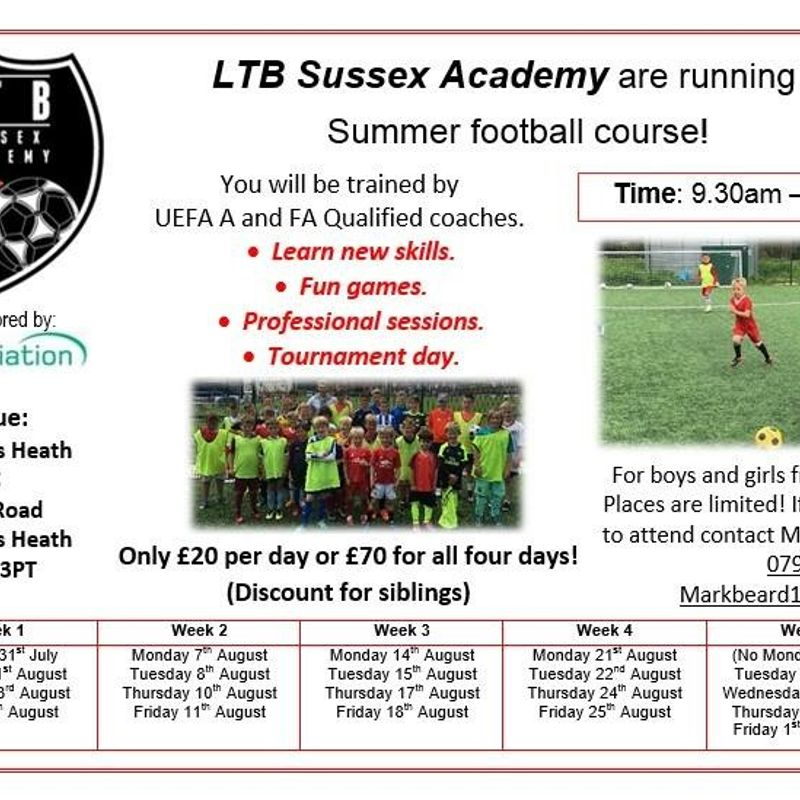 Summer Holiday Football Courses By LTB Sussex Academy
